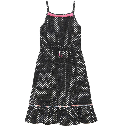 Neon Fringe Polka Dot Dress - Black