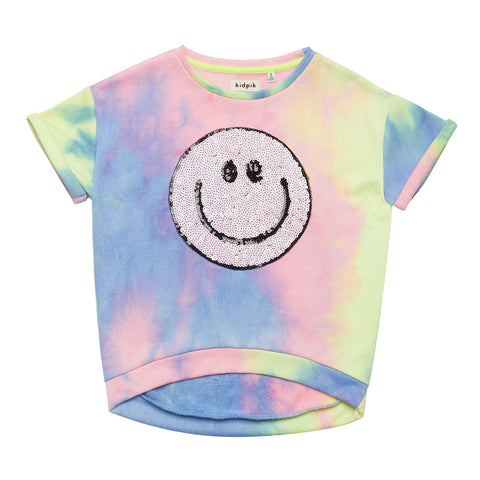 Tie Dye Smiley Sweatshirt - Cotton Candy