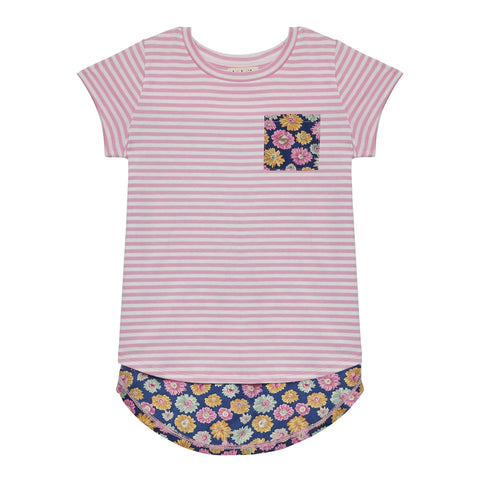 Stripe Daisy Back Tee - Pink Lady