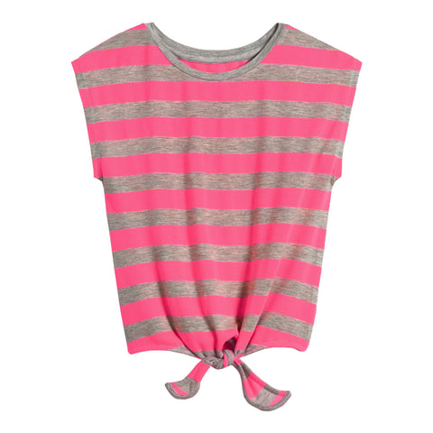 Stripe Tie Front Tee - Knockout Pink