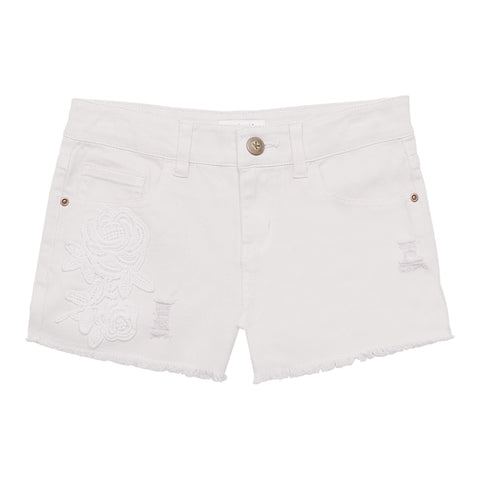 Rose Patch Short - White