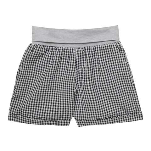 Check Fold Over Short - Black
