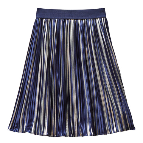 Midi Pleated Metallic Skirt - Kidpik Navy