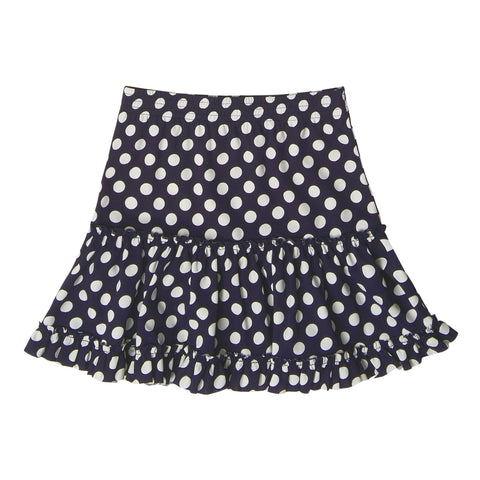 Knit Dot Tiered Skirt - Kidpik Navy