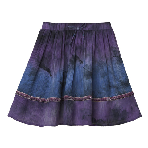 Lurex Trim Tie Dye Skirt - Striking Purple