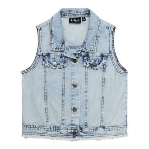 Snow Wash Denim Vest - Snow Wash