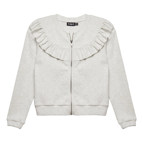 Shoulder Ruffle Cardigan - Oatmeal
