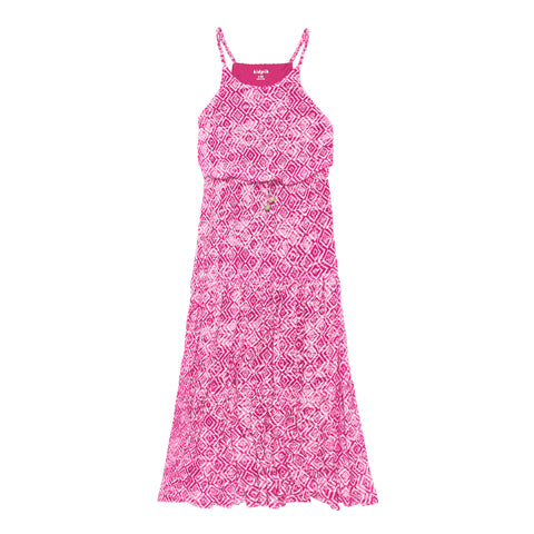 Geo Tiered Maxi Dress - Pink Peacock