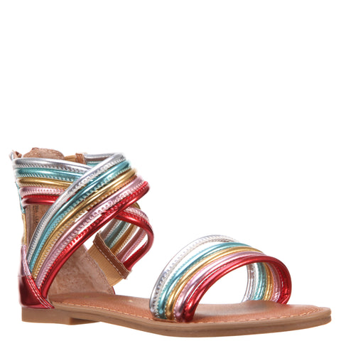 Crossed Metallic Ankle Sandal - Multi