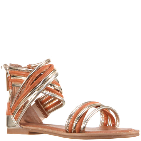 Crossed Metallic Ankle Sandal - Platino
