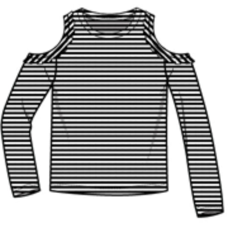 Stripe Cold Shoulder Tee - Black