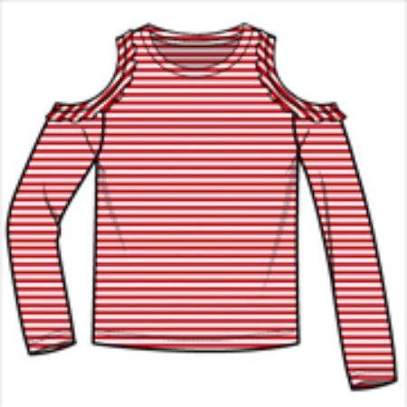 Stripe Cold Shoulder Tee - True Red