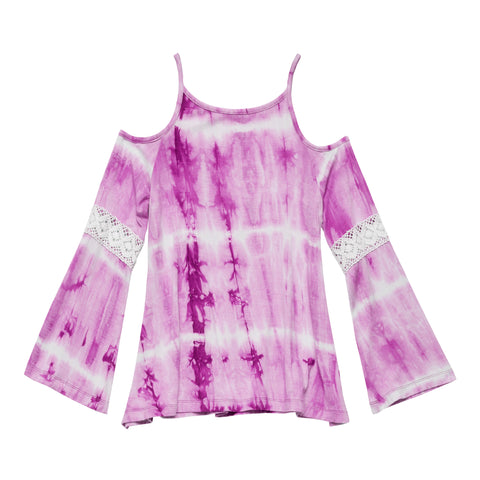 Tie Dye Shoulder Tee - Striking Purple