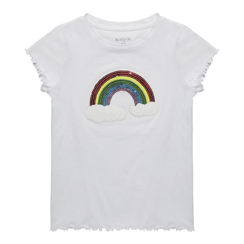 Sequin Rainbow Lettuce Tee - White