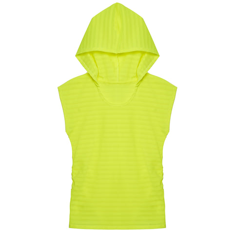 Textured Stripe Hooded Top - Acid Lime
