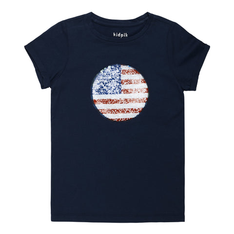 Flag Sequin Tee - Kidpik Navy