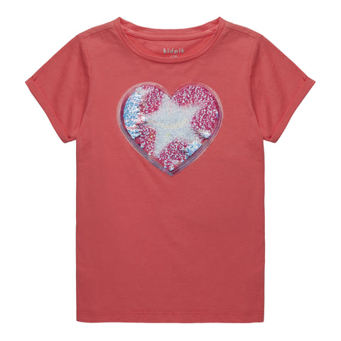 Love You Sequin Tee - Calypso Coral