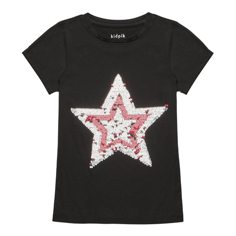 Double Star Sequin Tee - Black