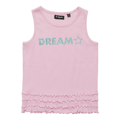 Dream Ruffle Ribbed Tank - Prism Pink