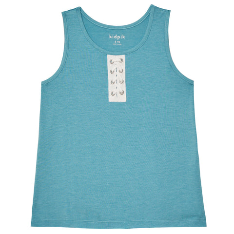 Lace Up Heathered Tank - Caneel Bay