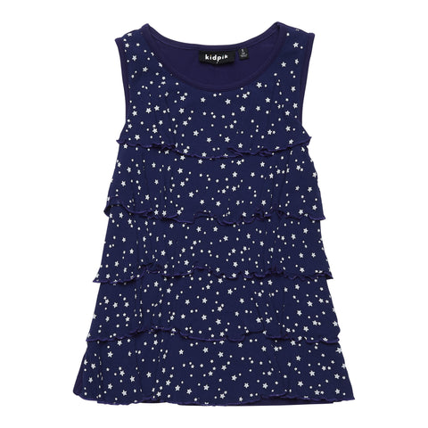 Star Tiered Ruffle Top - Kidpik Navy