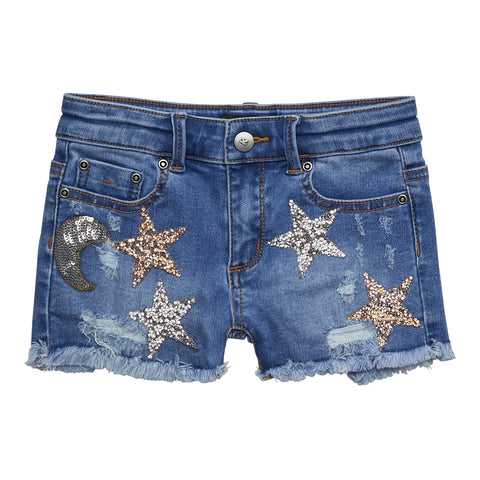 Jeweled Star Denim Short - Cosmo Wash