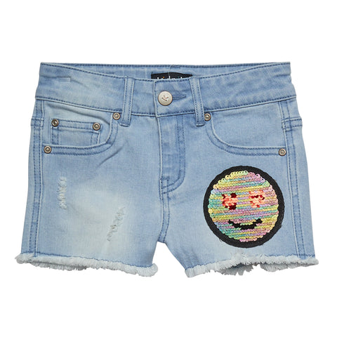 Reverse Sequin Denim Short - Corn Flower Wash
