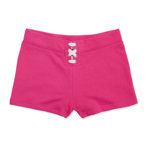 Lace Up Fleece Short - Pink Glo