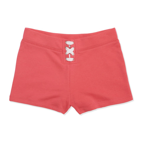 Lace Up Fleece Short - Calypso Coral