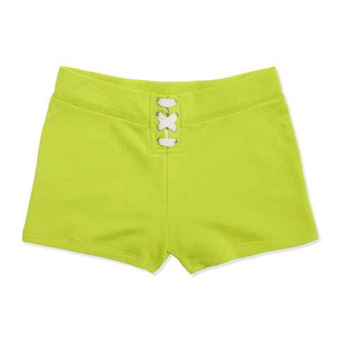 Lace Up Fleece Short - Acid Lime
