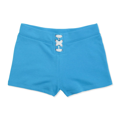 Lace Up Fleece Short - Dresden Blue