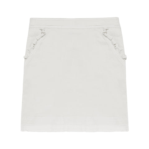 Ruffle Pocket Denim Skirt - White