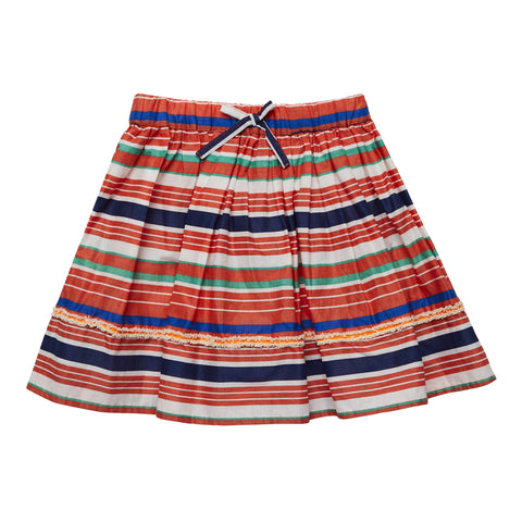 Stripe Fringe Taped  Skirt - Hot Coral