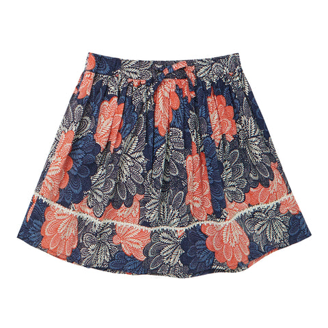 Fan Floral Trim Skirt - Hot Coral