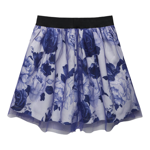 Cabbage Rose Overlay Skirt - Kidpik Navy