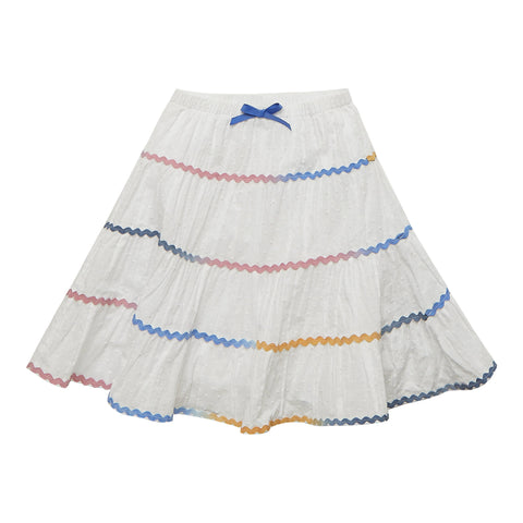 Ric Rac Tiered Skirt - White