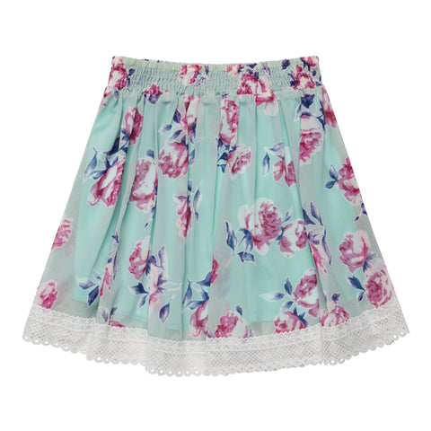 Lace Hem Cabbage Rose Skirt - Jadite