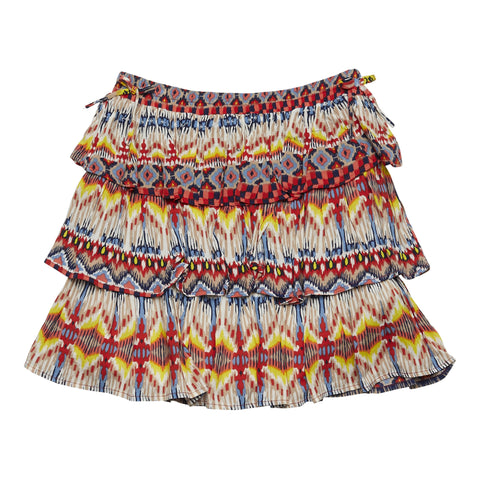 Batik Tiered Side Tie Skirt - Calypso Coral