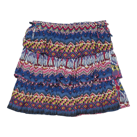 Batik Tiered Side Tie Skirt - Turkish Sea
