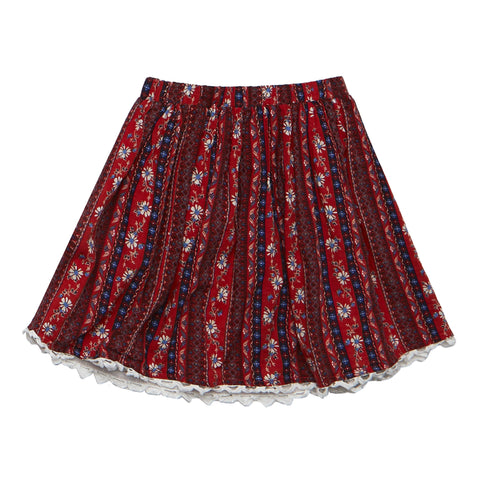 Alps Foral Lace Hem Skirt - True Red