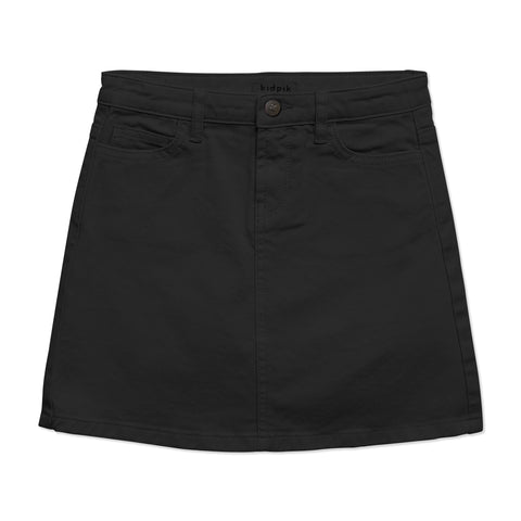 Colored Denim Skirt - Black