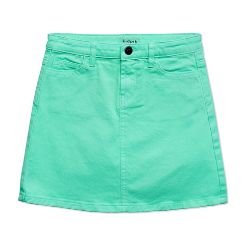 Colored Denim Skirt - Jadite