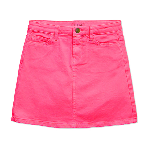 Colored Denim Skirt - Pink Peacock