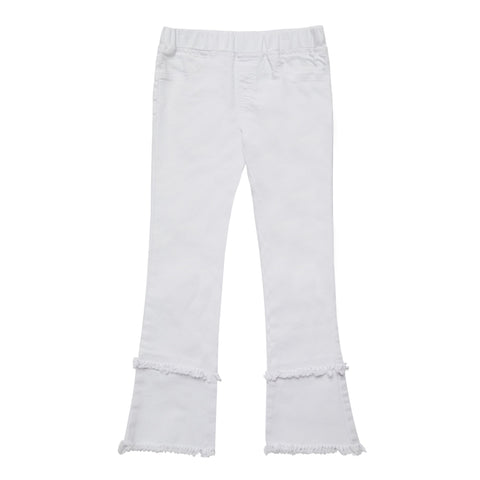 Pull On Fringe Denim Jean - White