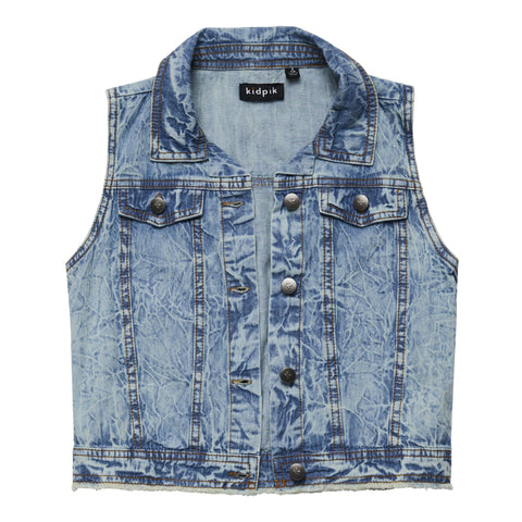 Cropped Denim Vest - Clover Wash