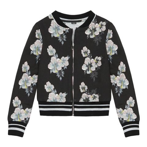 Floral Baseball Jacket - Blackened Pearl