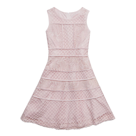 Piped Lace Dress - Cherry Blossom