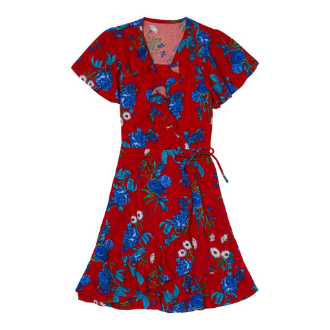 Blue Rose Ruffle Wrap Dress - True Red