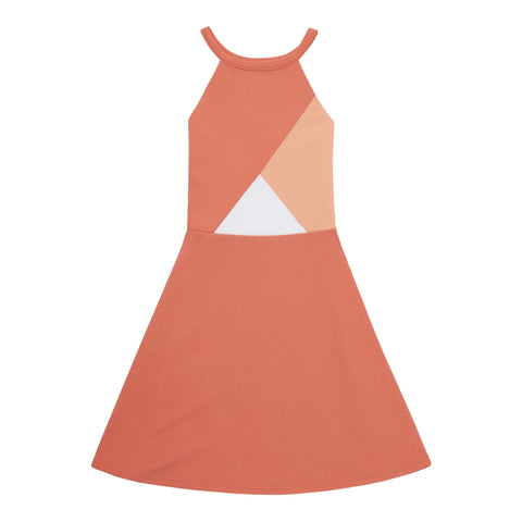 Colorblock Halter Dress - Calypso Coral
