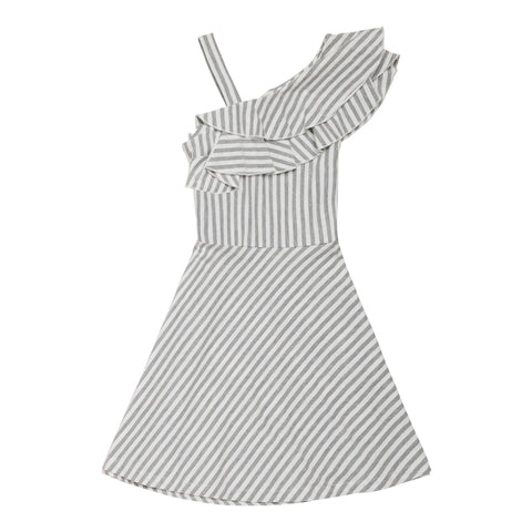 Stripe One Shoulder Dress - Light Heather Grey